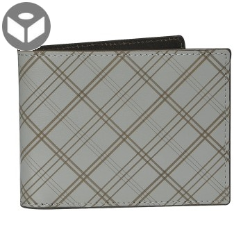Leather Wallet with Coin Pouch Plaid - Grey