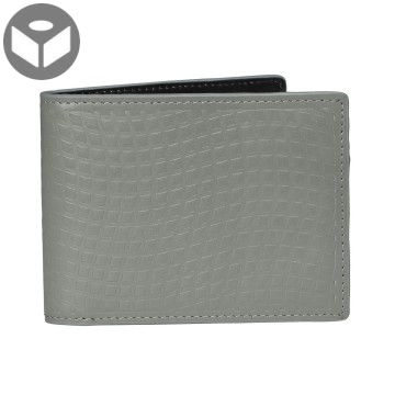 Leather Wallet with Coin Pouch Emboss - Dark Grey