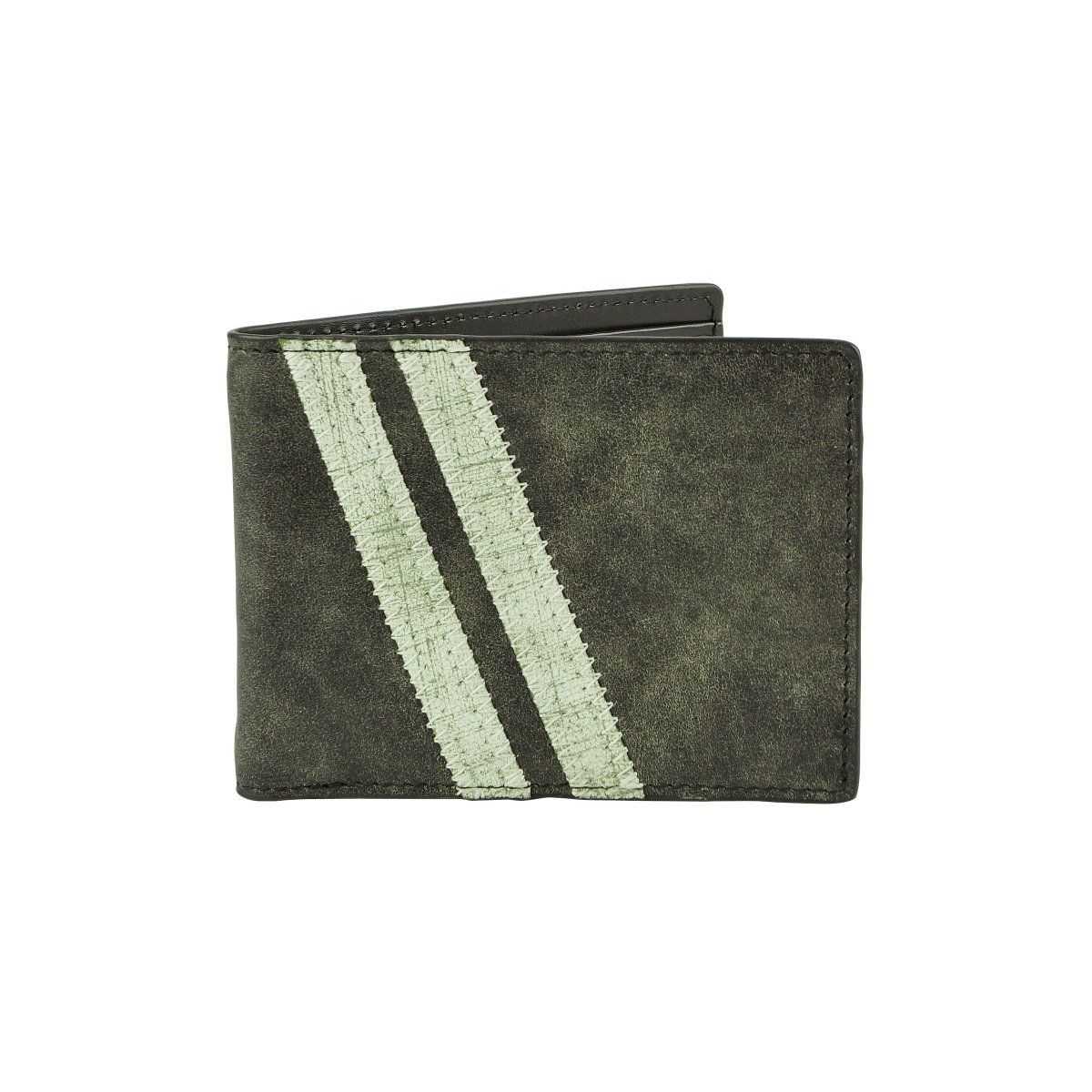 Zig Zag Roadster Leather Wallet - Black