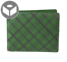 Leather Wallet with Coin Pouch Plaid - Green