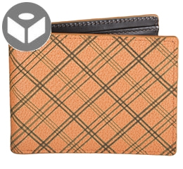 Leather Wallet with Coin Pouch Plaid - Orange