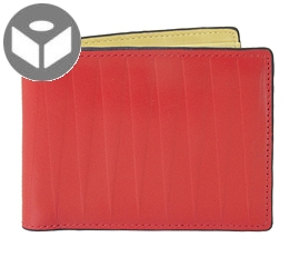 Leather Wallet with Coin Pouch Isosceles  - Red